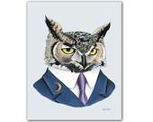 Horned Owl print 11x14