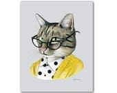 Tabby Cat art print - Modern kid art - Pet Portrait - Animals in Clothes - Animal Art - Modern Decor - Ryan Berkley Illustration 5x7