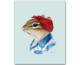 Chipmunk Lady - animal print - modern kid art - woodland nursery - modern nursery - animals in clothes - animal artwork - Ryan Berkley 11x14