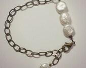 DAY 2  FLASH SALE - antique brass coin pearl bracelet