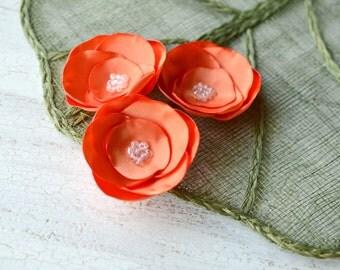 Satin fabric flowers, silk flower appliques, small satin roses, small wedding flowers, bulk flower embellishment (3pcs)- HOT ORANGE ROSES