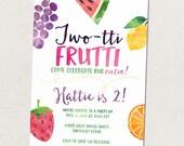 Fruit birthday party, Twotti Frutti 2nd birthday party invitation, Fruit themed birthday party