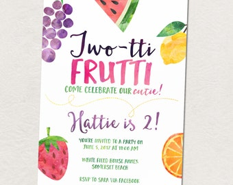 Fruit birthday party, Twotti Frutti 2nd birthday party invitation, Fruit themed birthday party