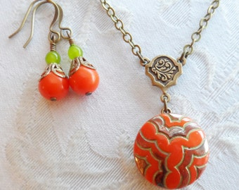 Art Deco, Vintage Glass Button Necklace, Orange with Green Accent