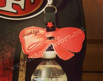 Bow Water Bottle Holder with Personalization! Cheerleading ~ Baseball~Football and More! Durable! Many uses and sports.