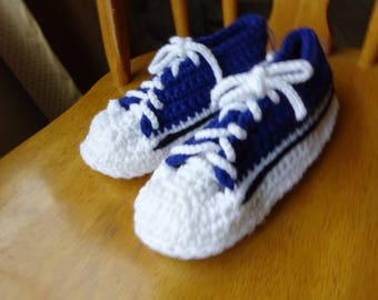 Crochet Blue top and white tie Sneakers Slippers, with variegated sole 9 inch,  Ladies 5/6
