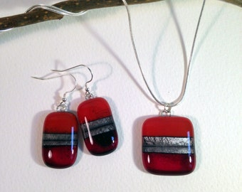 Handmade Silver Fused Glass Necklace and Sterling Silver Earrings Set in Gift Box - Ruby Red and Silver - FREE UK SHIPPING