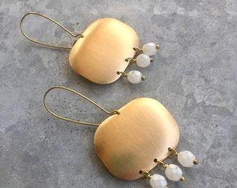 Geometric Chandelier Earrings, White Bead Earrings, Beaded Brass Earrings, White Beads, Rectangle