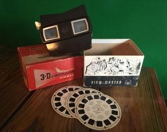 Bakelite View-Master 3-D Dimension Viewer in Box Model -E Brown Bakelite True Vintage