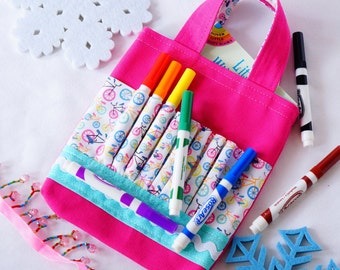 Crayon Tote • Crayon Bag • Coloring Bag • Art Tote • Crayon Holder • Crayon Roll • Flower Girl • Busy Bag • ARTOTE Mini • Bicycle Belle