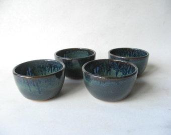 Small Pottery Bowls, Prep Bowls Set of 4, Condiment Bowls