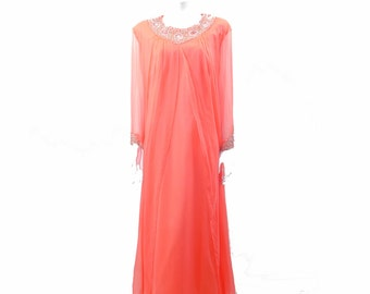 Vintage Pink Beaded Maxi Dress// 60s Pink Party Dress //Chiffon Rhinestone Beaded Maxi Dress// Size M// 139