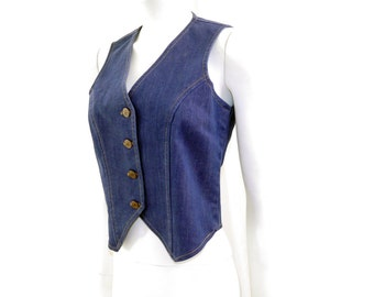 Vintage Dickson Jenkins Denim Vest// Blue Denim Vest // Womens Steampunk Formal Fitted Vest// Size S // 152