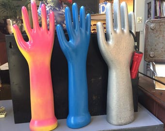 Collection of Porcelain Glove Molds, Repaint Vintage Glove Molds 3 Piece