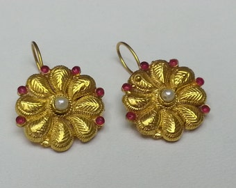 Old Style Ruby and Pearl Flower earring