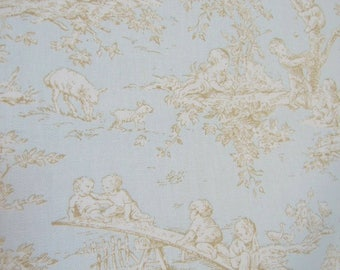 Toile Fabric - Kravet - Drew, Light Blue, Tan, Cream, Sewing, Home Decor, Pillow covers, Quilting