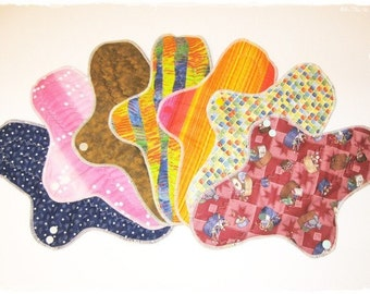SET OF 7 ...  14 Inch Postpartum Cloth Mama Pads Heavy Absorbency ... Menstrual Pad FREE Shipping