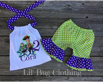 Toy Story Woody & Buzz Girls Outfit, Custom Boutique Toy Story Birthday Party Outfit, Personalized Toy Story Buzz Woody Outfit