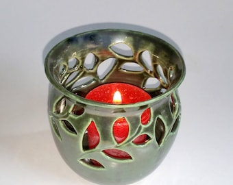 Green Votive Candle Holder or Luminary with Leaf Sprigs- Wheel Thrown and Altered Pottery - This is a Second!!