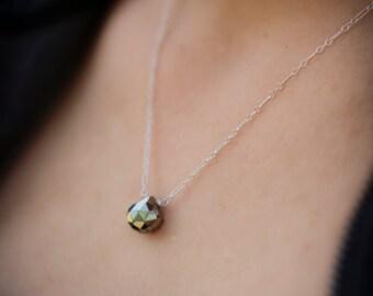 Pyrite Sterling Silver Necklace, Minimalist Necklace, Teardrop Gemstone Necklace