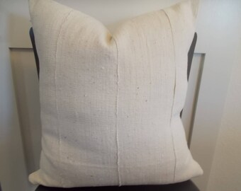 "20"" by 20""  African Mudcloth off White mud cloth pillow cover takes 20"" insert"