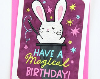 Have a Magical Birthday Bunny - funny birthday card for boyfriend birthday card friend birthday card best friend bunny birthday card cute