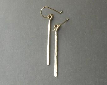 Long Gold Bar Earrings, Minimal Hammered Gold Filled Dangle Earrings, Minimalist Jewelry