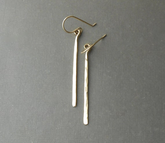 Long Gold Bar Earrings, Minimal Hammered Gold Filled Dangle Earrings, Minimalist Jewelry