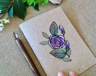 Rose Hand Printed and Hand Coloured Artisan Gift Card on Recycled Kraft Card in Pink or Purple Colourways