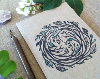 Leaf Circle Hand Printed and Hand Coloured Artisan Gift Card on Recycled Kraft Card