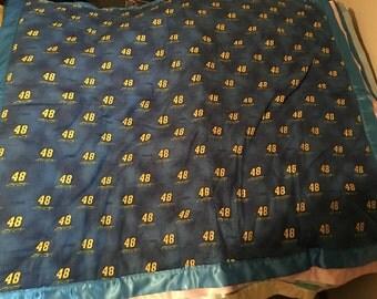 Handmade Flannel Toddler Crib Size Blanket NASCAR # 48 Jimmy Johnson