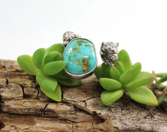 BUFFALO and Turquoise Sterling Silver ring, Size 8 to 8.5, boho, gypsy, rustic, handmade, metalwork
