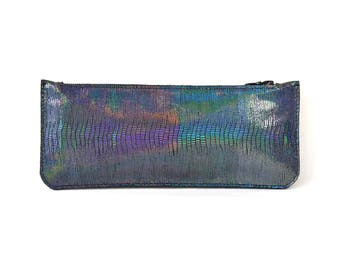 Cécile - Handmade Black Holographic Iridescent Leather Clutch Bag Purse SS17