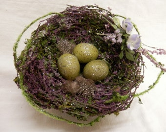 Repurposed Moss and Violet Bird Nest