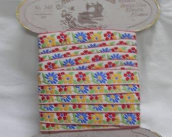 "Vintage Retro Trim Floral in Primary Colours   110"" Length"