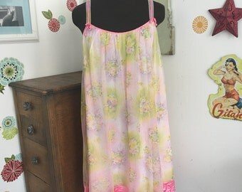 Vintage Baby Doll Nightgown, Lace and Chiffon Nightie, Pin Up Girl Style Floral Swing Top or Dress