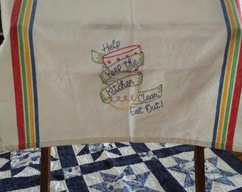 Hand embroidered dish towel kitchen