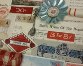 RESERVED Patriotic Americana vintage paper ephemera inspiration kit. found objects. art collage pack. journal supplies. USA holidays. ribbon