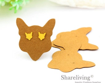 Kraft Paper Fox shape Earring Display Tags, Earring Display Cards, Earring Holder,  Packaging, Blank Design Tag - EDC001D