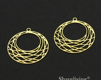 Exclusive - 4pcs Raw Brass Geometry Round Charm / Pendant,   Fit For Necklace, Earring, Brooch  - TG316