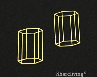 Exclusive - 10pcs Raw Brass Geometric dimensional  Charm / Pendant,  Fit For Necklace, Earring, Brooch  - TG352