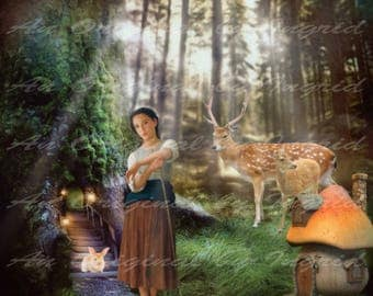Woodland Maiden Digital Collage Greeting Card (Suitable for Framing)