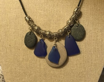 multi Beachstone and necklace, hand picked stone from Lake Michigan