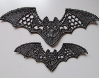 Embroidered Bat Lace Applique