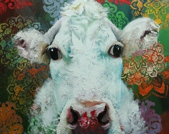Cow painting 1218 30x30 inch animal original oil painting by Roz