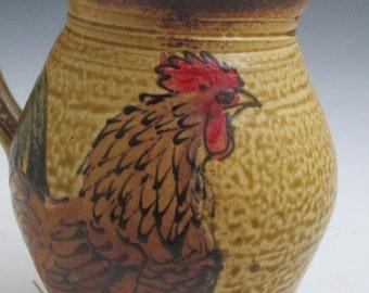 Jumbo mug with Rooster handmade pottery