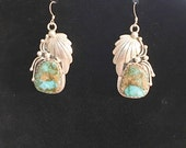 Vintage  Artist Signed Sterling and Turquoise Earrings