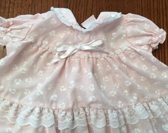 80s Pink Floral Dress 6/9 Months