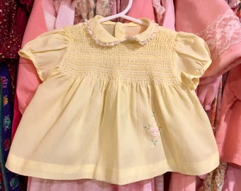 50s Yellow Baby Dress 6/9 Months