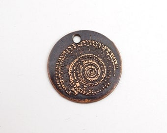 Copper shell charm, small flat round handmade etched jewelry supply, 22mm